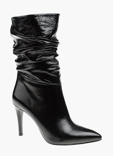 Divarese İnce Topuklu Deri Çizme Siyah